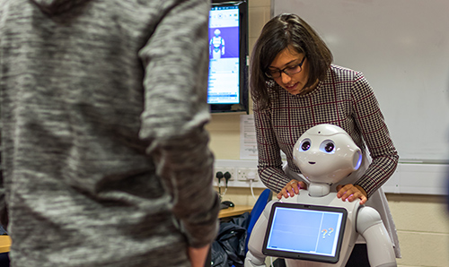 A researcher instructing a robot