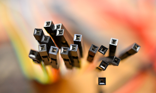 Close up of a number of electrical wire connectors