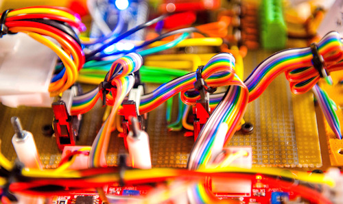 Close up of rainbow coloured ribbon connector