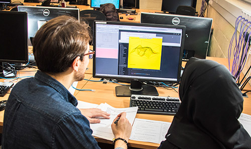 A male tutor showing a woman a graph on a monitor