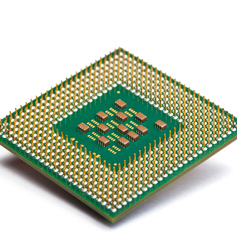 CPU chip on white background