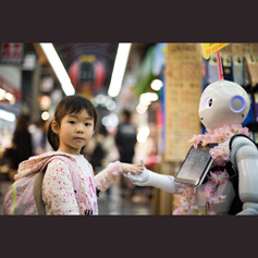 Young girl holding hands with an android.