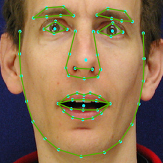 Image of a human face overlaid with map points.