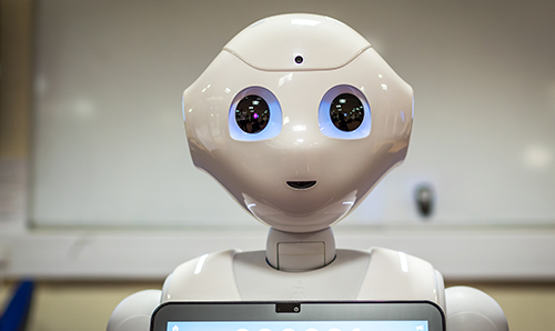 A close up of Pepper the robot