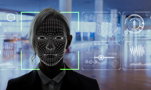 Image of woman's face covered in lines, demonstrating facial recognition technology in action