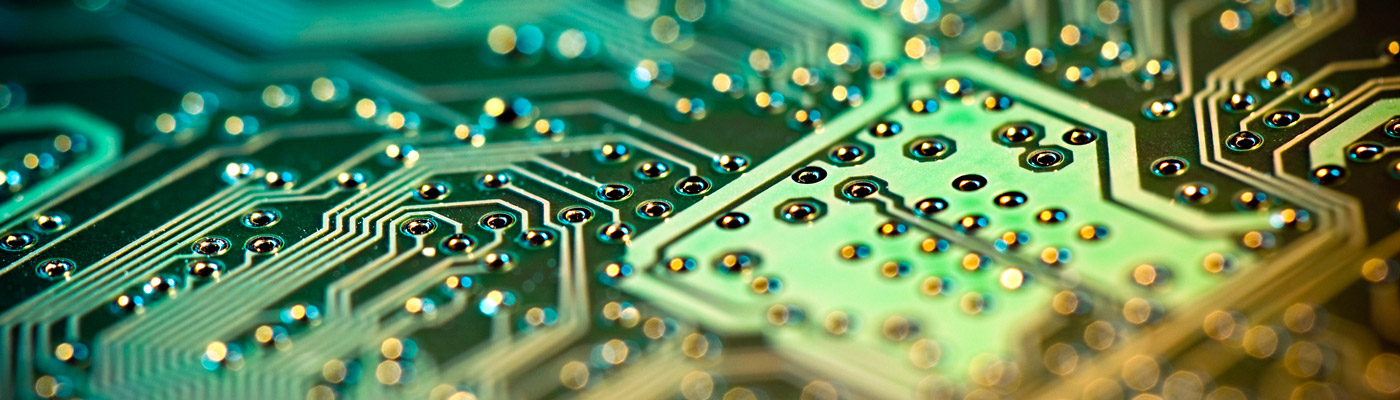 Close-up of green circuits board